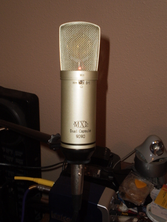 MXL 9090 Dual-Capsule Condenser Microphone on its stand